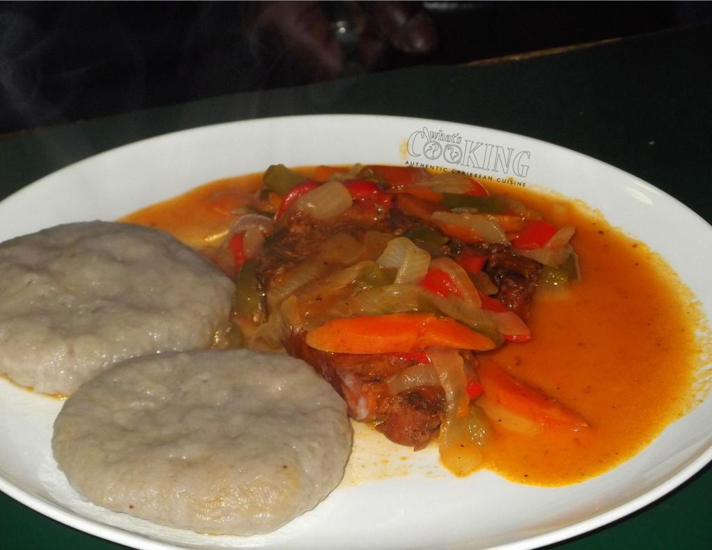 Brown stew fish and banana dumpling II