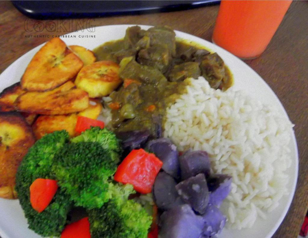 curried goat with Rosemary prtatoes, Broccoli and peppers and Rice II