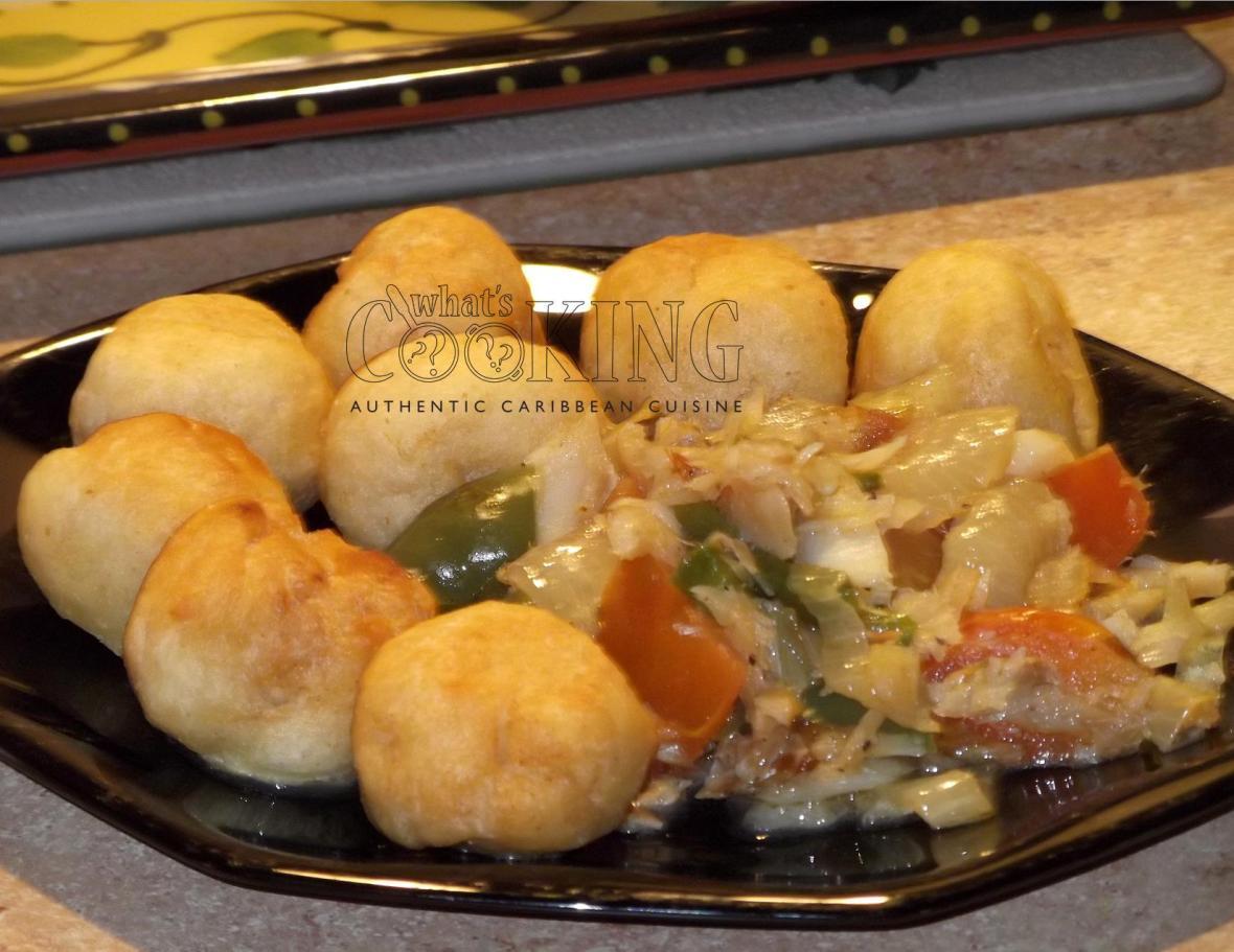 Fried dumplings and saltfish