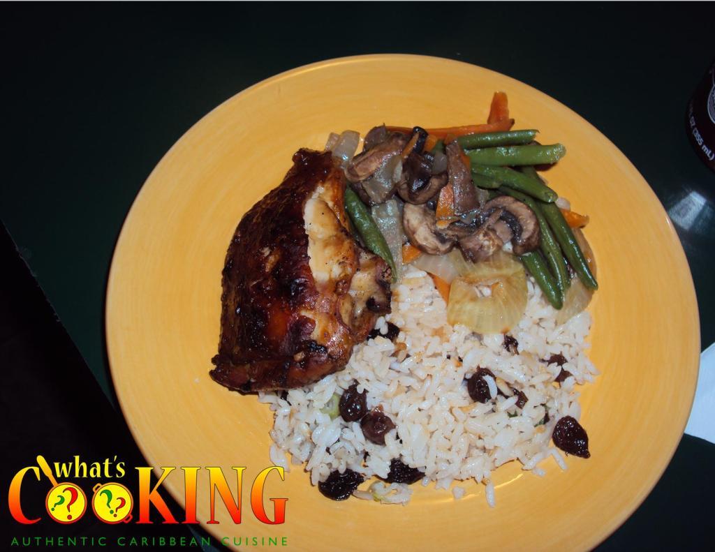Glazed orange chicken steamed veggies sweet rice pilaf