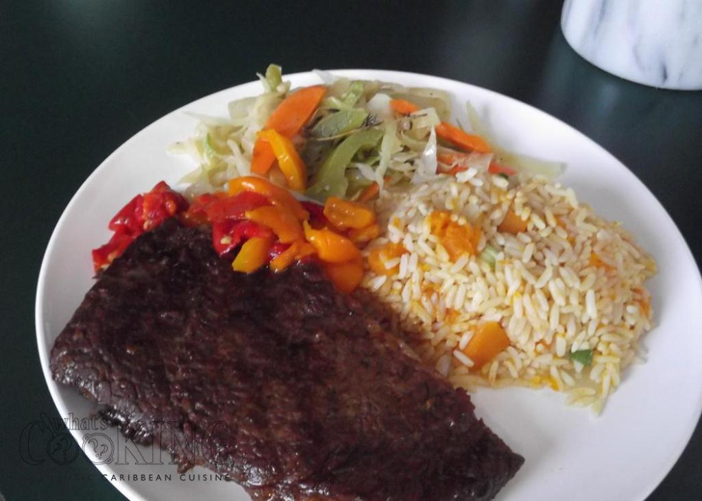 Steak with pumpkin rice and cabbage II