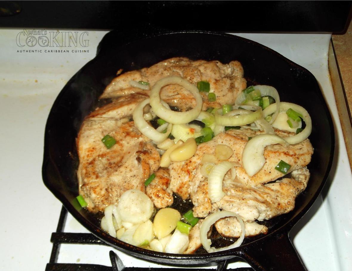 making pollo con cebolla