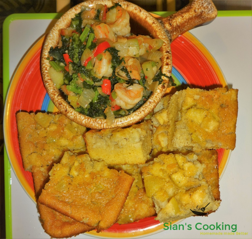 Shrimp with greens and cornbread